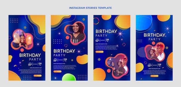 Historias de instagram de cumpleaños colorido degradado