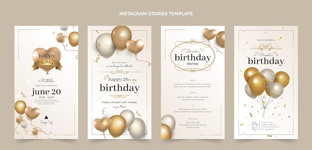 Historias de instagram de cumpleaños dorado de lujo realista