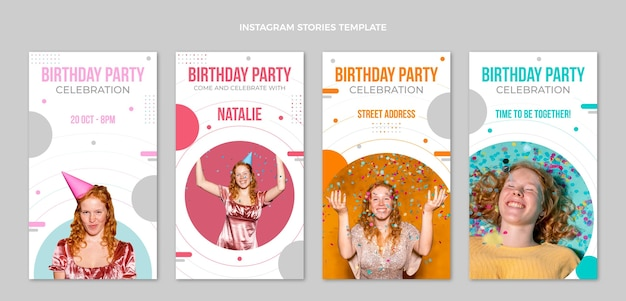 Historias de instagram de cumpleaños minimalistas de diseño plano