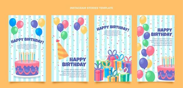 Historias de instagram de cumpleaños minimalistas planas