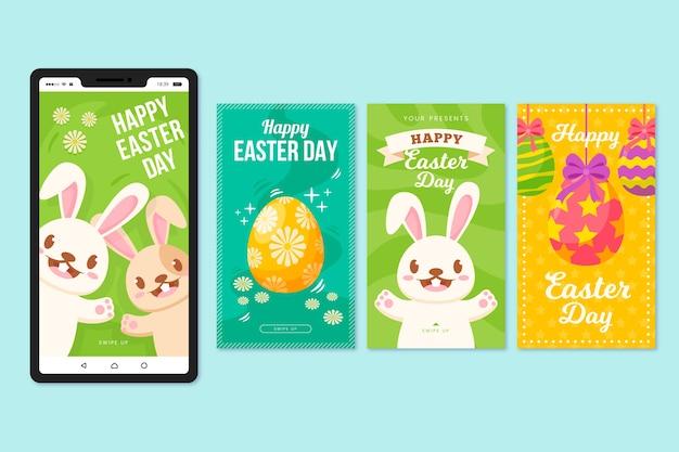 Historias de instagram del día de pascua con huevos coloridos y conejitos felices