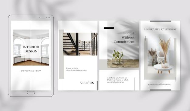 Historias de instagram de elegante diseño minimalista
