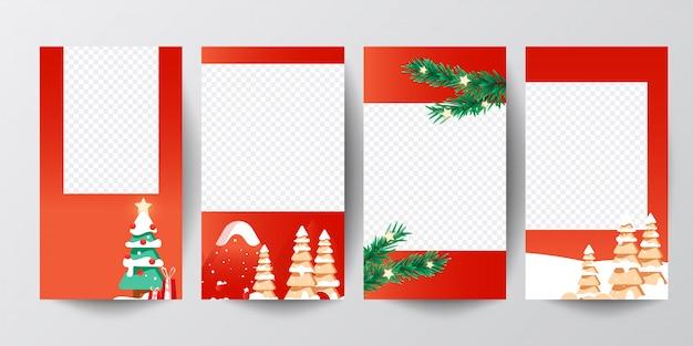 Las historias de instagram establecen pancartas de árboles de navidad