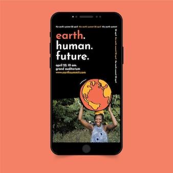 Historias de instagram del evento de la naturaleza del día de la tierra moderno creativo