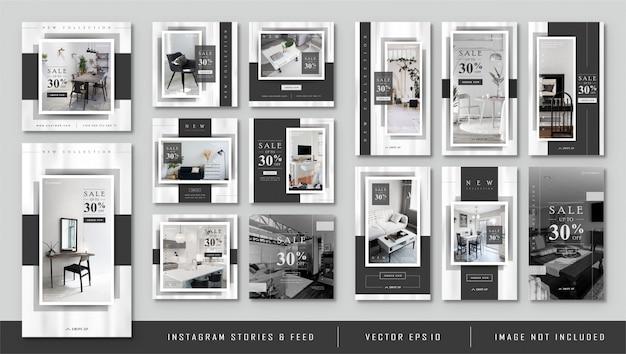 Historias de instagram y feed post minimalista black furnitur template