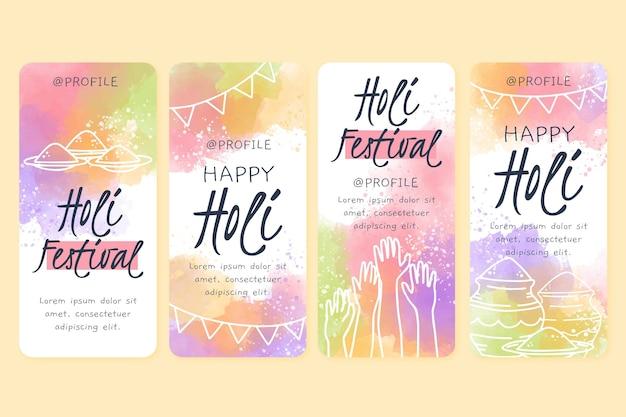 Historias de instagram del festival holi de acuarela