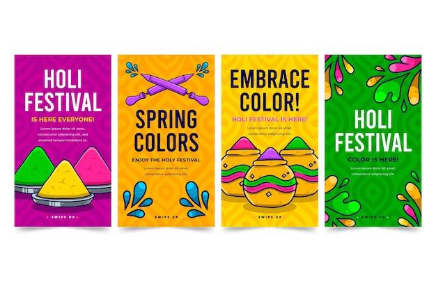 Historias de instagram del festival holi dibujadas a mano