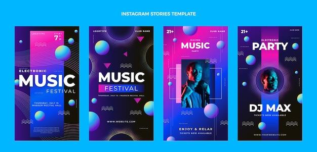 Historias de instagram del festival de música colorido degradado