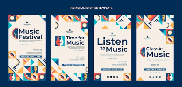Historias de instagram del festival de música de mosaico plano
