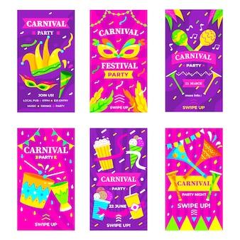 Historias de instagram de fiesta de carnaval