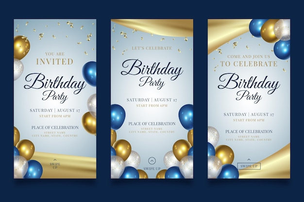 Historias de instagram de fiesta de feliz cumpleaños