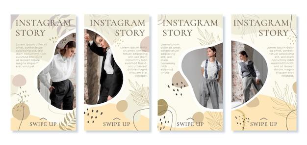 Historias de instagram de formas abstractas planas dibujadas a mano con foto