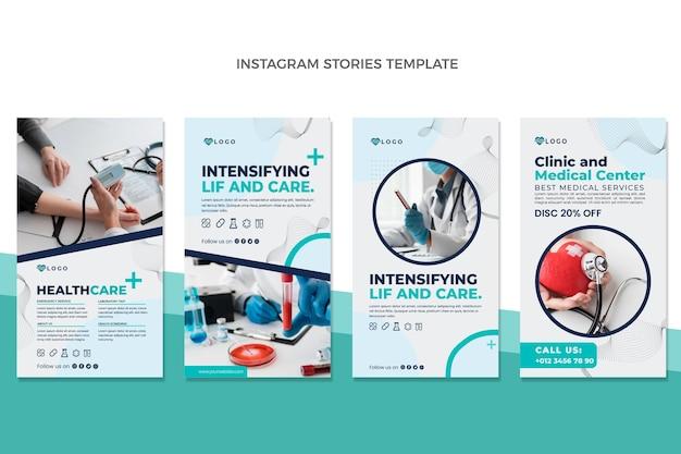 Historias de instagram médicas de diseño plano