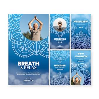 Historias de instagram de meditación de yoga