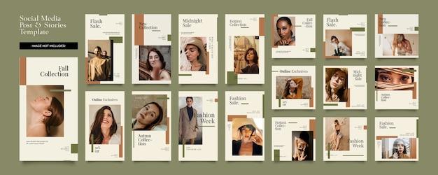 Historias de instagram minimalistas y paquete de publicaciones
