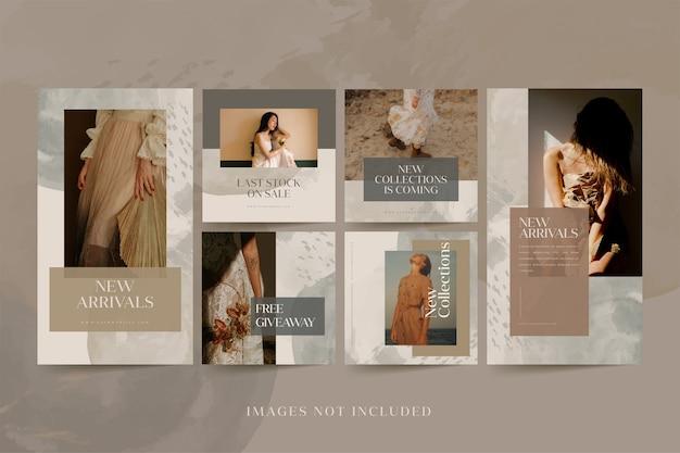 Historias de instagram de moda minimalista y colecciones de publicaciones