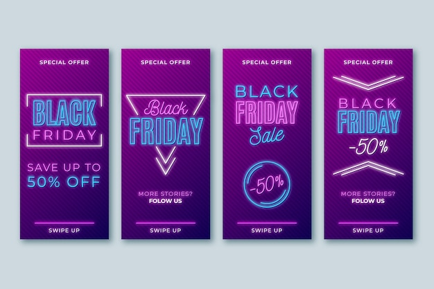 Historias de instagram de neon black friday