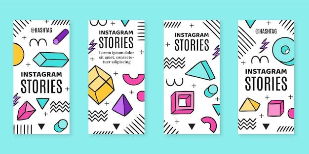Historias de instagram nostálgicas de los 90 dibujadas a mano