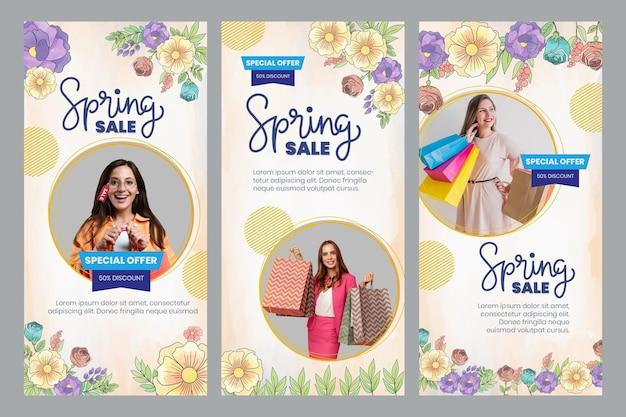 Historias de instagram de primavera en acuarela
