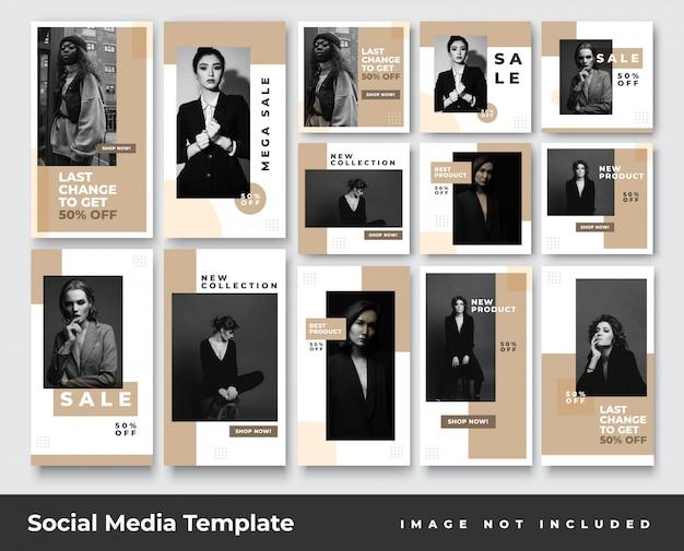 Historias de instagram de redes sociales de moda minimalista y paquete de banner de publicación de feed