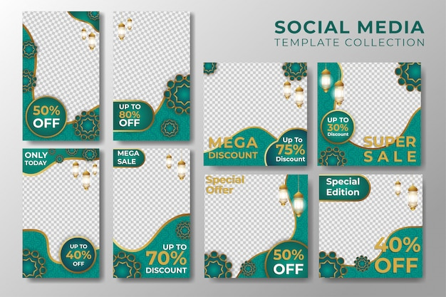 Historias de instagram de redes sociales y plantilla post islámica