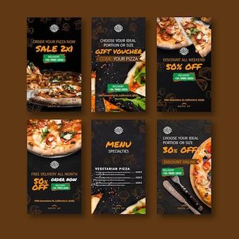 Historias de instagram de restaurante de pizza