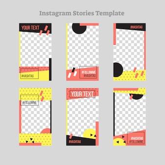 Historias de instagram resumen diseño de marco de estilo plano