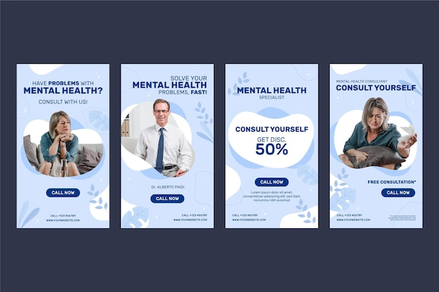 Historias de instagram de salud mental de diseño plano