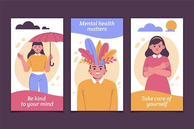 Historias de instagram de salud mental plana
