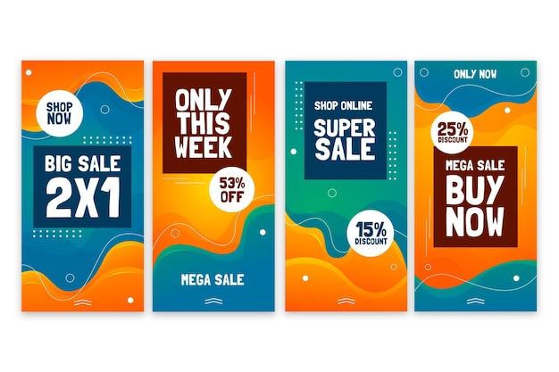Historias de instagram de ventas abstractas gradiente