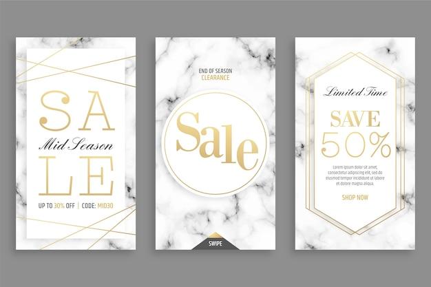 Historias de instagram con ventas en estilo mármol