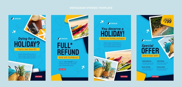 Historias de instagram de viajes de diseño plano