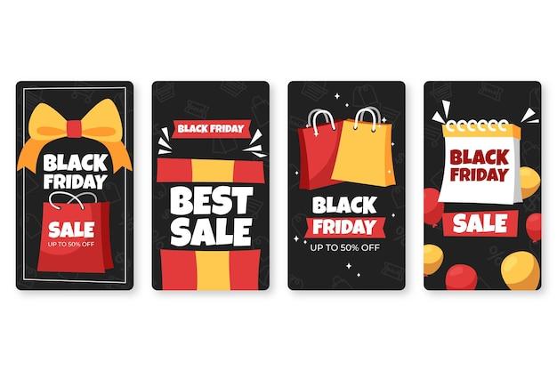 Historias de instagram del viernes negro dibujadas a mano