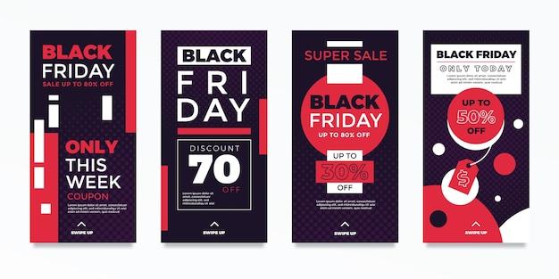 Historias de instagram del viernes negro en diseño plano