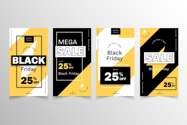 Historias de instagram del viernes negro de diseño plano