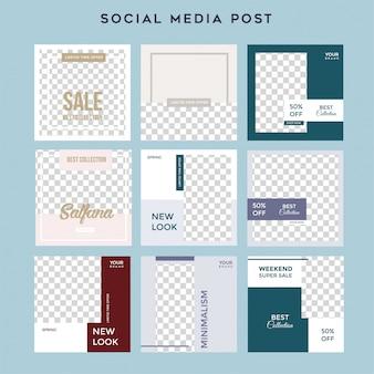 Historias minimalistas de redes sociales alimentan la plantilla de venta posterior a la moda