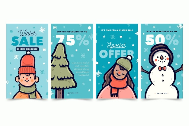 Historias de rebajas de invierno con elementos dibujados.