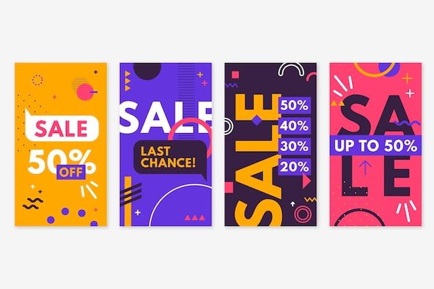 Historias de venta abstractas coloridas de instagram