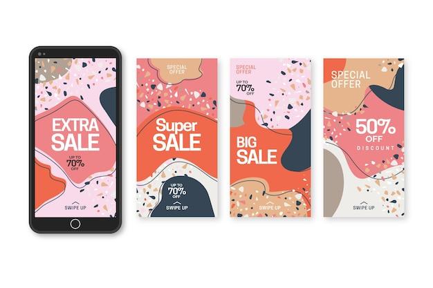 Historias de venta de instagram en terrazo y estilo dibujado a mano