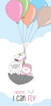 Historieta animal lindo personaje volando con globo