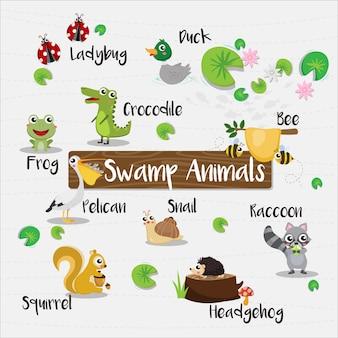 Historieta de animales de pantano con nombre de animal
