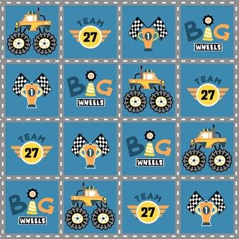 Historieta de la carrera de monster truck en vector de patrón
