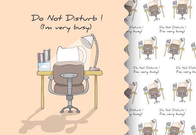 Historieta cómica plana animal gatito adicto al trabajo