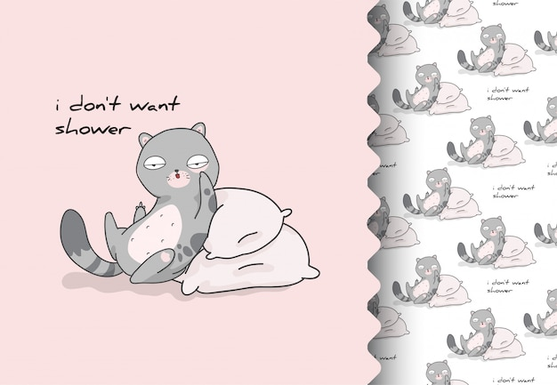 Historieta cómica plana mal gatito lindo