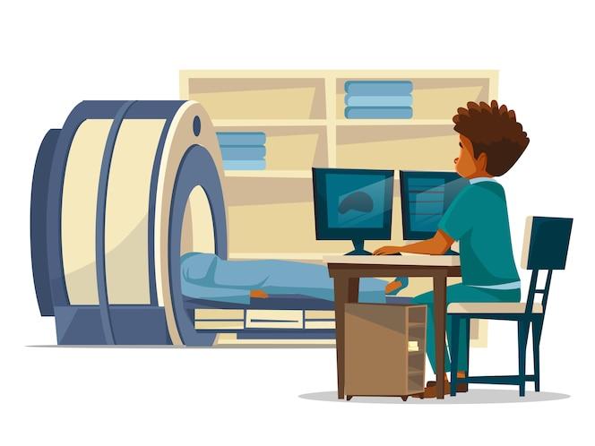 Historieta del hospital de la resonancia magnética del cerebro del doctor y del paciente en el examen médico.