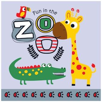 Historieta divertida de animales de zoológico, ilustración vectorial
