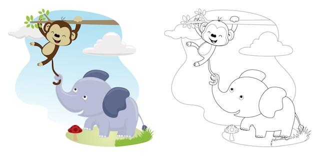 Historieta divertida, elefante tira de la cola del mono