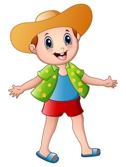 Historieta feliz del muchacho con ropa de verano y un sombrero