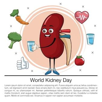 Historieta de infografía de día mundial del riñón