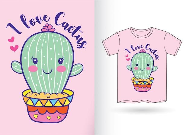 Historieta linda del cactus para la camiseta